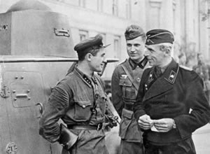 Soviet and German tank crews, Poland, September 1939.